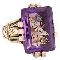 Victorian Amethyst Diamond Bird Ring 14k