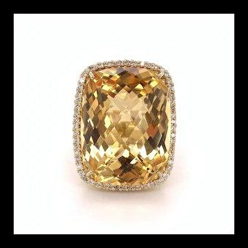 38 Carat Citrine and Diamond Ring 18k
