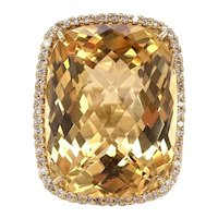 38 Carat Citrine and Diamond Ring 18k