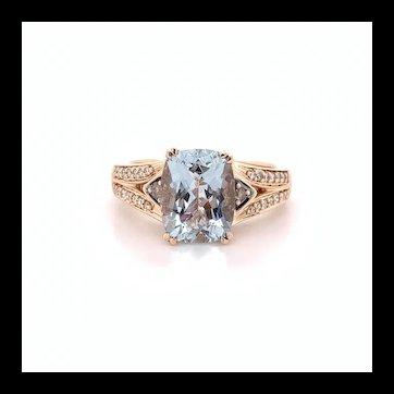 Le Vian Aquamarine and Chocolate Diamond Ring 14k