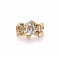 Mid Century 3 Stone Aquamarine Ring 14k