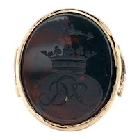 Antique Bloodstone Civic Crown Seal Ring 14k