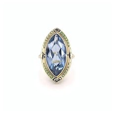 Synthetic Blue Spinel Enamel Ring 14k