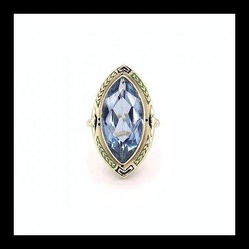 Synthetic Blue Spinel Enamel Ring 14k