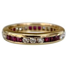 Diamond and Ruby Eternity Band 18k