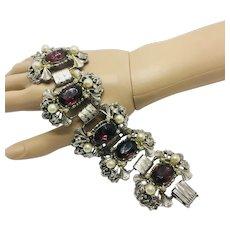 Vintage Selro Faux Pearl Cabochon Bracelet