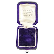 Antique Purple Ring Box with Cabochon Set Button. Walter W. Giveans, Jeweler, 207 Market St., Newark, New Jersey, USA