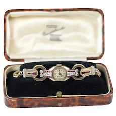 Exceptional Late Art Deco 9kt Gold, Diamond and Ruby Set Cocktail Watch dated to 1937. An Archtype Design from the Age of Glamour