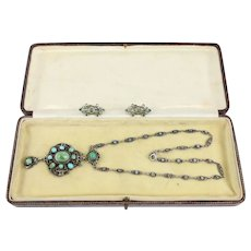 Bohemian Turquoise set Silver Necklace and Screw-back Earring Set
