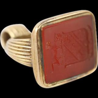 Antique Georgian Carnelian Heraldic Crest Intaglio Seal set in 12ct Gold