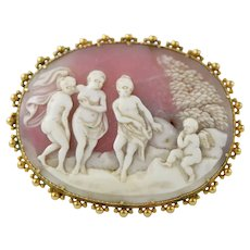 Antique Victorian 18 Karat Gold Carved Shell Cameo Brooch of Three Muses with Cherub