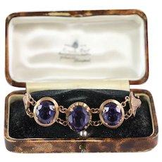 Retro 1940's Egyptian Revival Faux Alexandrite Set, 12kt Rose Gold Cairo Souvenir Bracelet