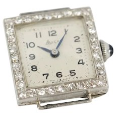 Art Deco Platinum & Diamond Square Face BUCYL Watch Face