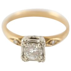 Art Deco 18k Gold Diamond Solitaire Ring Size G