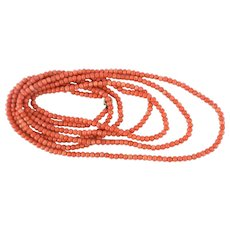 Art Deco Long Length Flapper Style Orange Coral Bead Necklace, 173cm