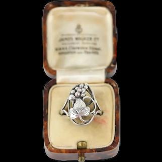 Vintage Bernhard Hertz Modernist 830 Silver Grape and Vine Leaf Ring