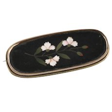 Antique Victorian Oval Pietra Dura Floral Silver Gilt Oblong Brooch
