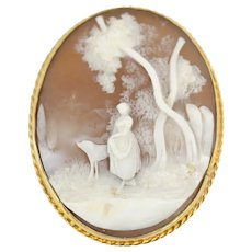 Antique Allegorical Pastoral Scene Cameo 9kt Gold Mount Brooch