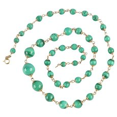 Vintage 9K Gold & Polished Malachite Graduated Bead Necklace, 1994