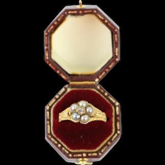 Antique Georgian 15kt Gold Mine Cut Diamond & Seed Pearl Flower Ring Ca. 1820