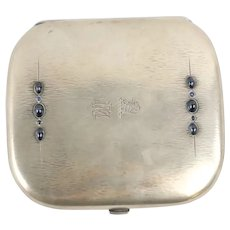 Exceptional Antique Sapphire and Star Sapphire set Engraved and Monogrammed Continental Silver Cigarette Case