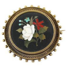 Antique Victorian Pietra Dura Neo-Classical Flower Bouquet 18k Gold Set Brooch