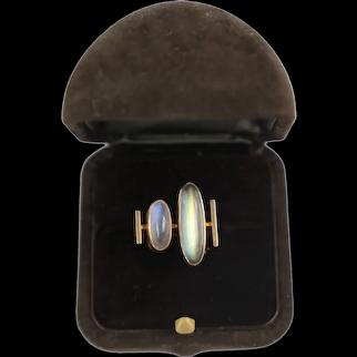 Vintage High Modernist 1960's era 14 Karat yellow gold, Labradorite and Moonstone Cabochon Ring