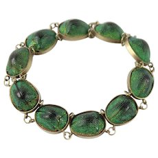 Antique Egyptian Revival Scarab Beetle Bracelet