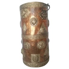 19th Century Antique Large Brass Repousse Cylindrical Asian Umbrella Cane Stand Wastebasket