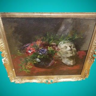 Original Oil Painting by Edmund Pick-Morino ( Austria 1877-1958) titled Muske und Bluemen