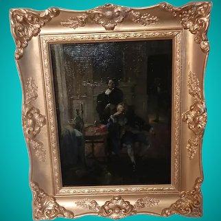 H.S Dobie Original Small Oil Painting Canvas on Board Victorian Scene