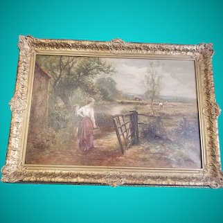 Antique:Ernest Charles Walbourn (English 1872-1927) Original Oil Panting Country Farm Scene