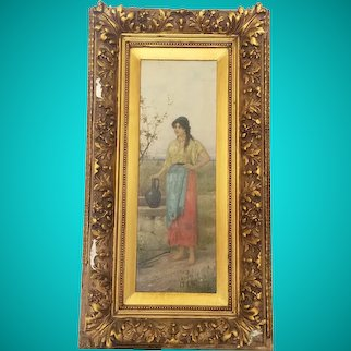 P Duval Original Antique Painting of a Woman Holding the Basket
