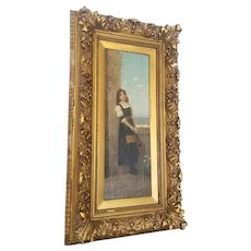 P Duval Original Oil Painting Woman Standing With Instrument