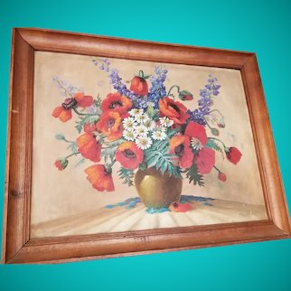 Original Still life Painting Oil Painting of Red Poppy Seed Flowers by Carl Nordmann (European painter 1849-1922 )