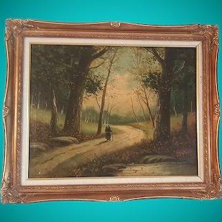 Edward Gay (1837–1928) Original Oil Painting Landscape Forest Scene