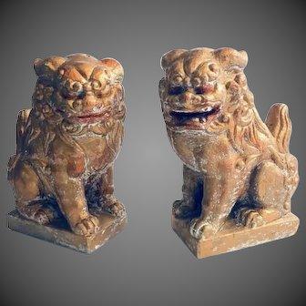 Mid Century Gilt Painted Cast Stone Foo Dog Statues