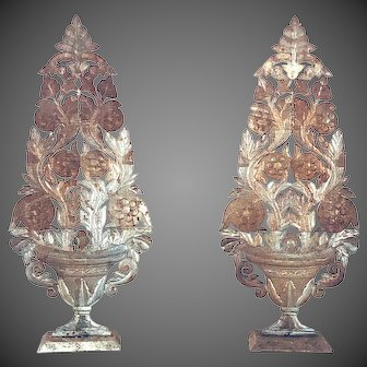 Vintage Mexican Folk Art Tin Floral Decorative Urns PAIR