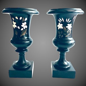 Pair of NeoClassical Campagna shaped Urns Black Scagliola