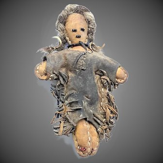 Early 20thC Southwest style Buckskin Doll with Horsehair