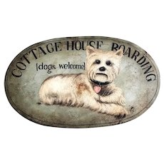 Mid 20thC original painted Trade Sign with Highland Terrier
