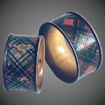 19thC Tartanware Napkin Rings pair