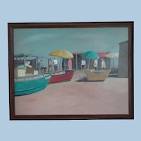Oil Painting on Board - Beach Scene - Reginald Johnson - Mid 20th Century California Artist