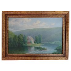 Early 20th Century Oil of Mill on River - Andre Thyes