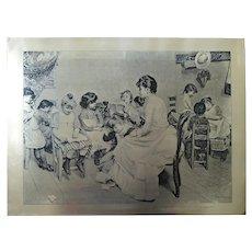 19th C. Printing Plate - Teaching Children