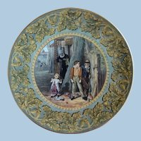 19th C. Prattware Pottery Plate - Acorn Border