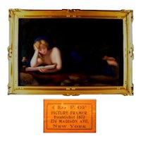 Antique Gold Framed KPM Berlin Plaque with Reclining Draped Lady Reading