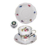 Vintage Mitterteich Meissen Floral Footed Cup and Saucer Set