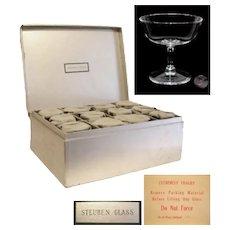 Steuben Crystal Set of 12 Champagne Stems