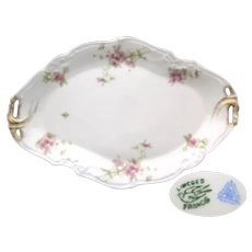 Limoges Oval Pierced Handled Serving Platter